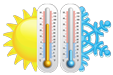 thermometer with sun and ice symbols